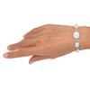 Mother of Pearl (Flower Curved) Bracelet with Fresh Water Pearl and Sterling Silver Light