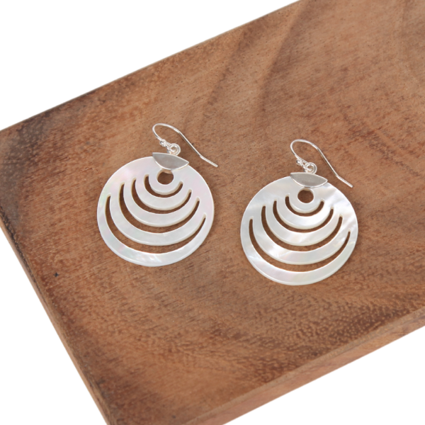 Circle Mother of Pearl Earrings with Sterling Silver