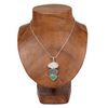 Drusy Quartz Sterling Silver Pendant with Chrysoprase