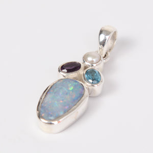 Australian Opal Sterling Silver Pendant with Amethyst, Blue Topaz and Fresh Water Pearl