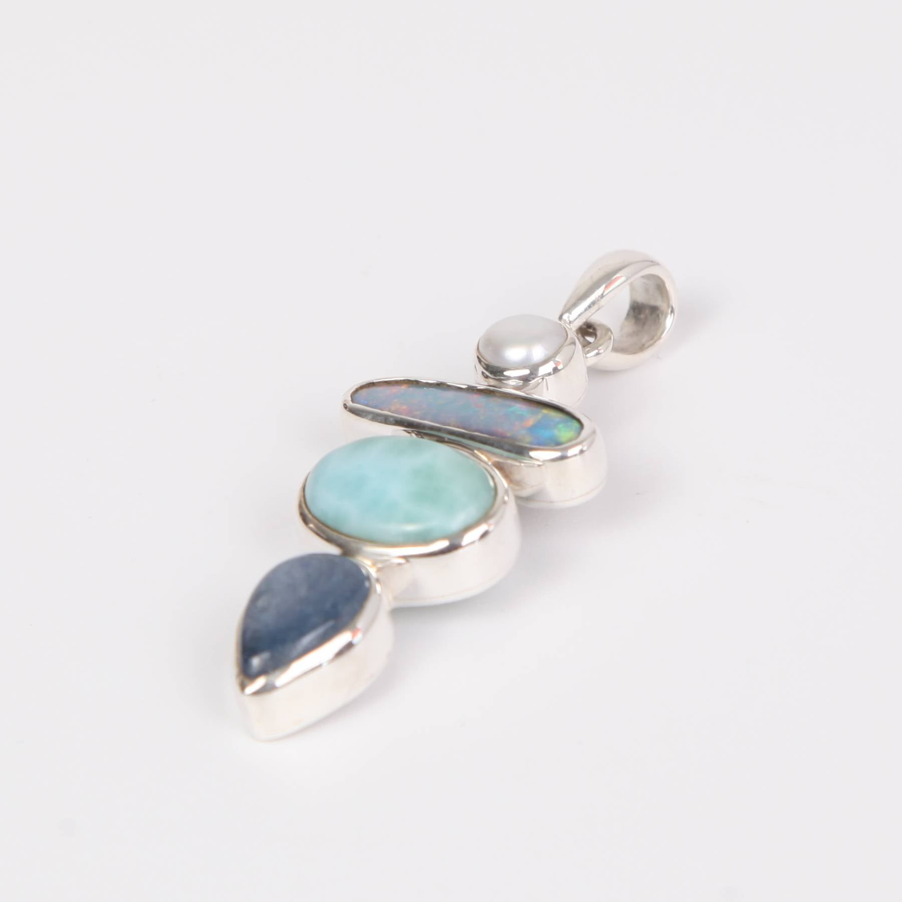Larimar Stone Sterling Silver Pendant with Australian Opal, Kyanite and Fresh Water Pearl