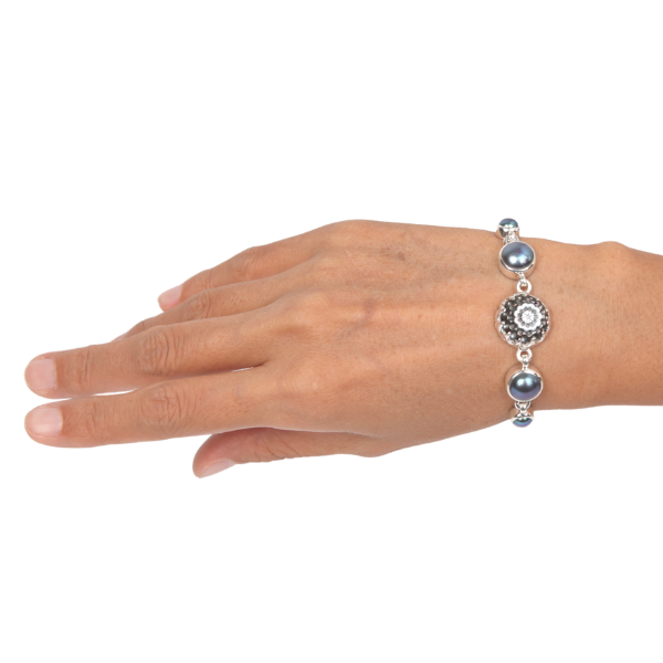 Mother of Pearl (Flower Curved) Bracelet with Fresh Water Pearl and Sterling Silver Dark