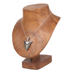 Fossil Shark Tooth Pendant with Sterling Silver Triangle
