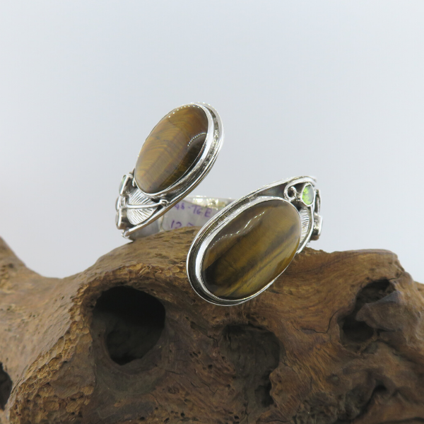 Tiger's Eye Sterling Silver Bangle with Citrine and Peridot