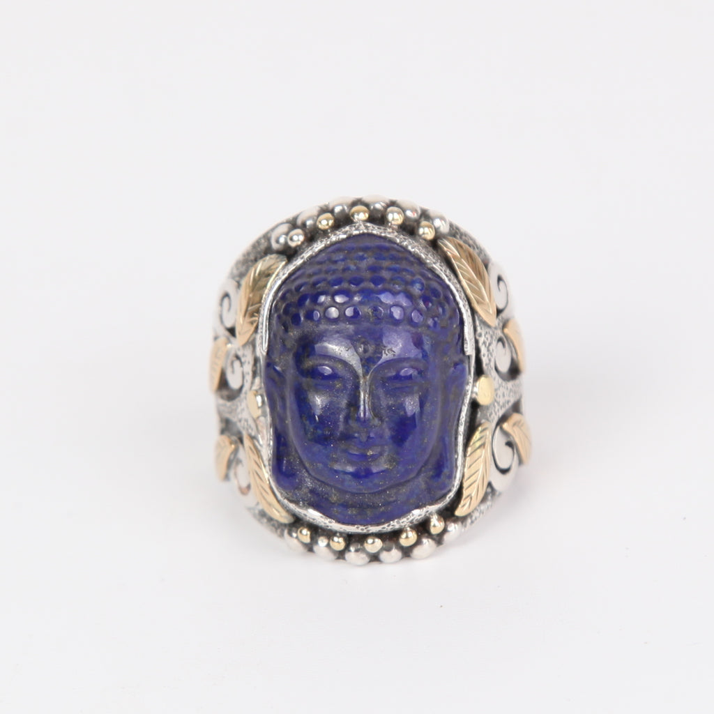 Lapis Lazuli Buddha Head Ring with Sterling Silver and 18k Gold