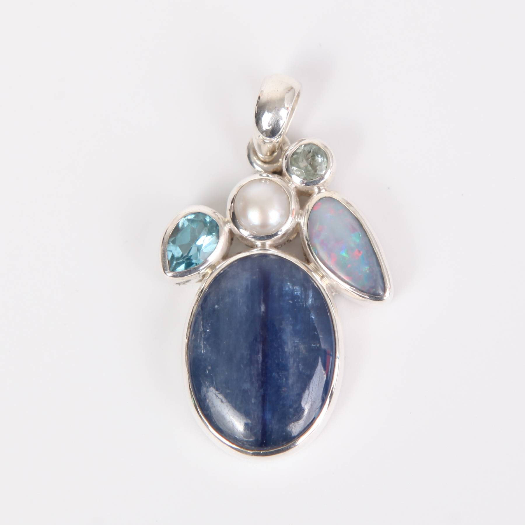 Kyanite Sterling Silver Pendant with Australian Opal, Aquamarine, Blue Topaz and Fresh Water Pearl