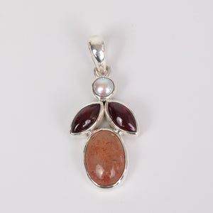 Sun Stone Sterling Silver Pendant with Garnet and Fresh Water Pearl