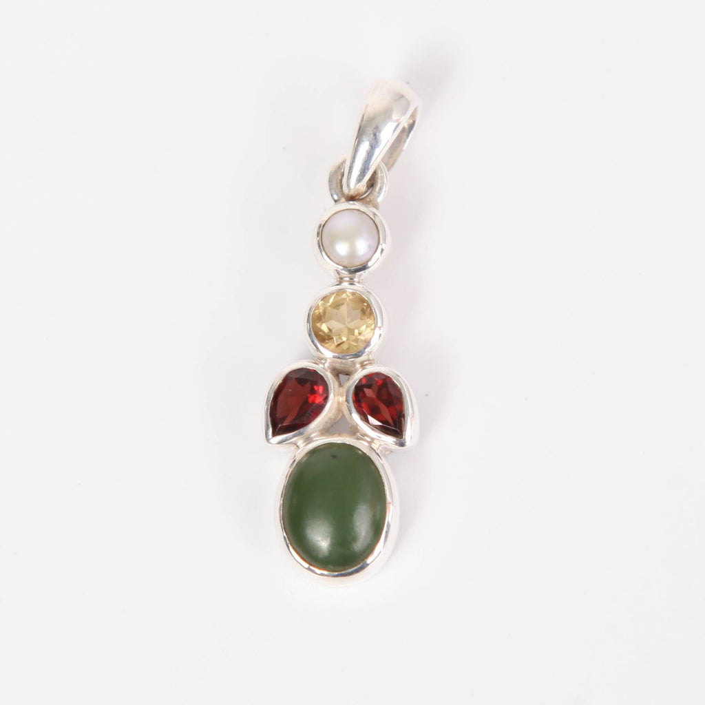 Nephrite Sterling Silver Pendant with Garnet, Citrine and Fresh Water Pearl