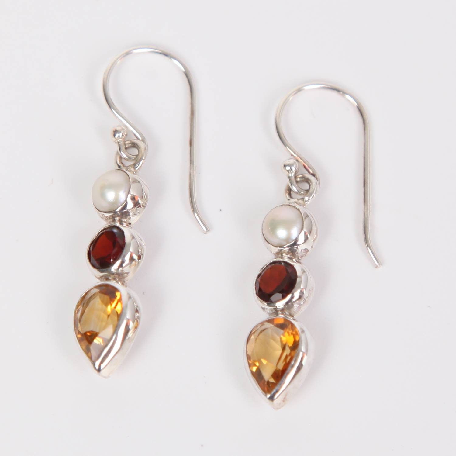Citrine Sterling Silver Earrings with Garnet and Fresh Water Pearl