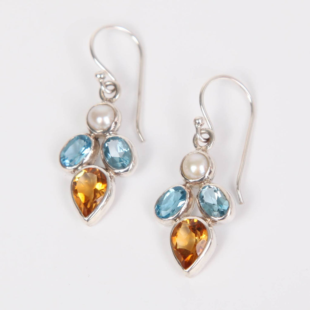 Citrine Sterling Silver Earrings with Blue Topaz and Fresh Water Pearl