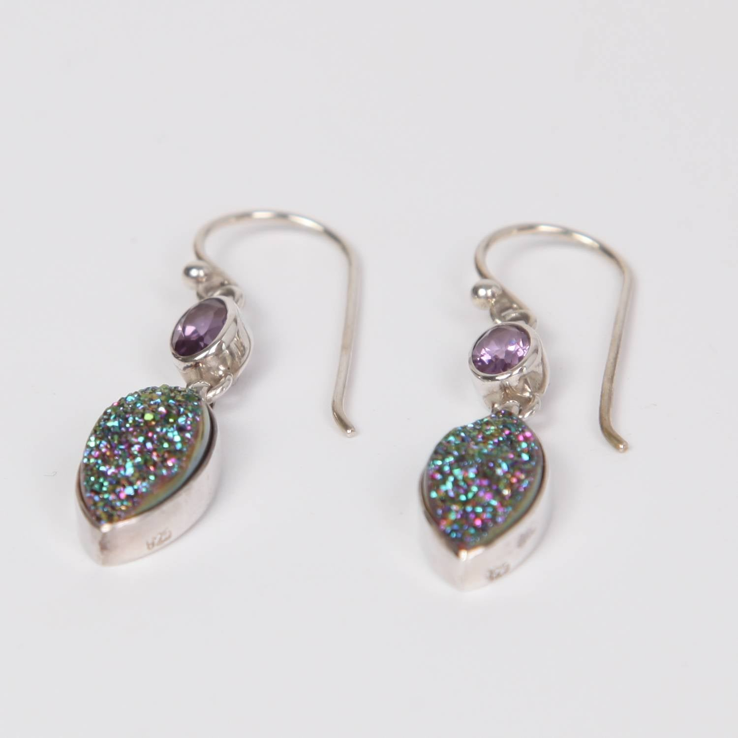 Drusy Quartz Sterling Silver Earrings with Amethyst