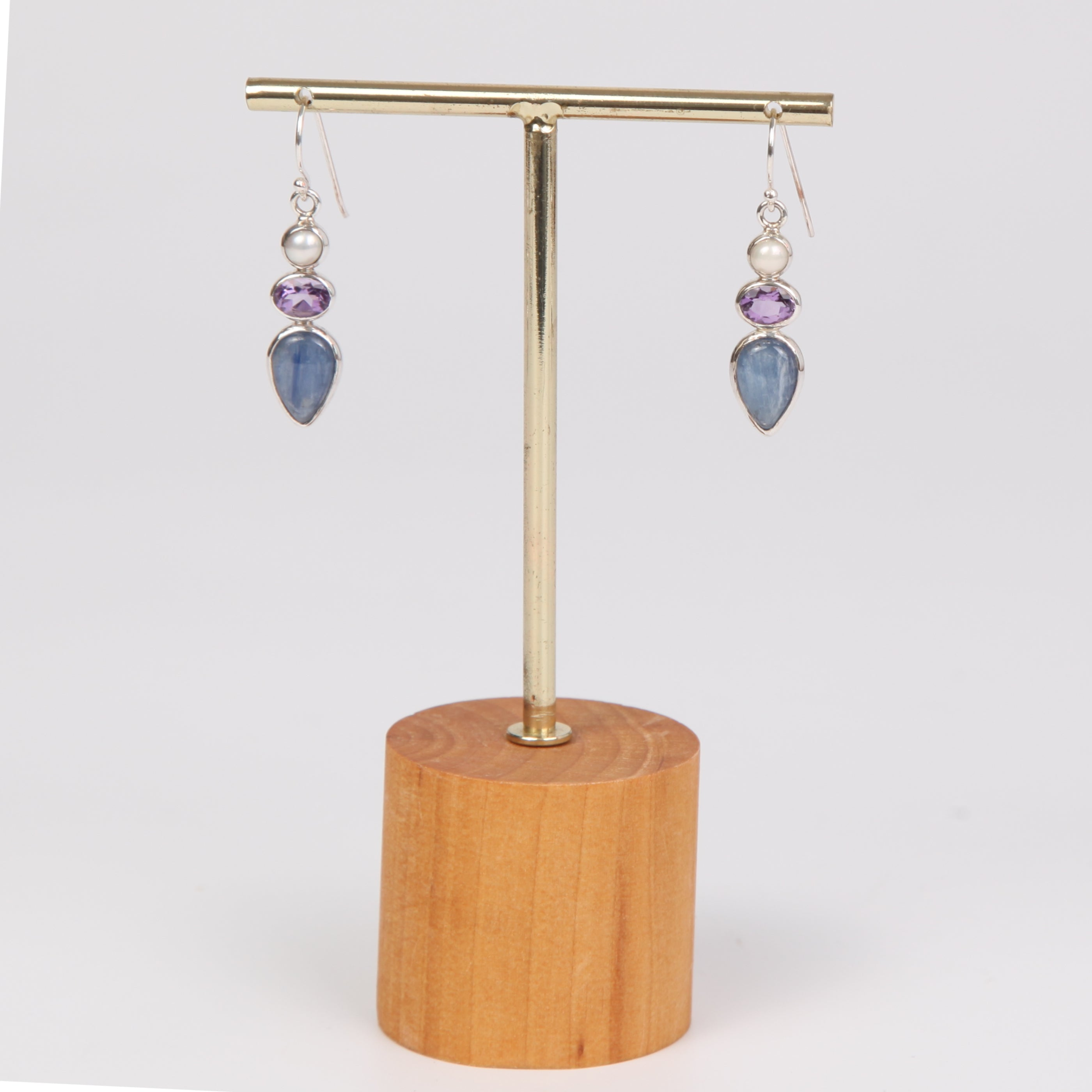 Kyanite Sterling Silver Earrings with Amethyst and Fresh Water Pearl