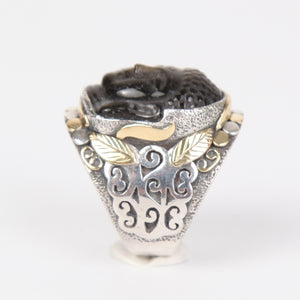 Gold Sheen Obsidian Buddha Head Ring with Sterling Silver and 18K Gold