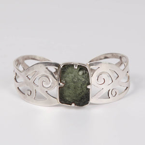 Rough Moldavite (meteorite) Sterling Silver Bangle