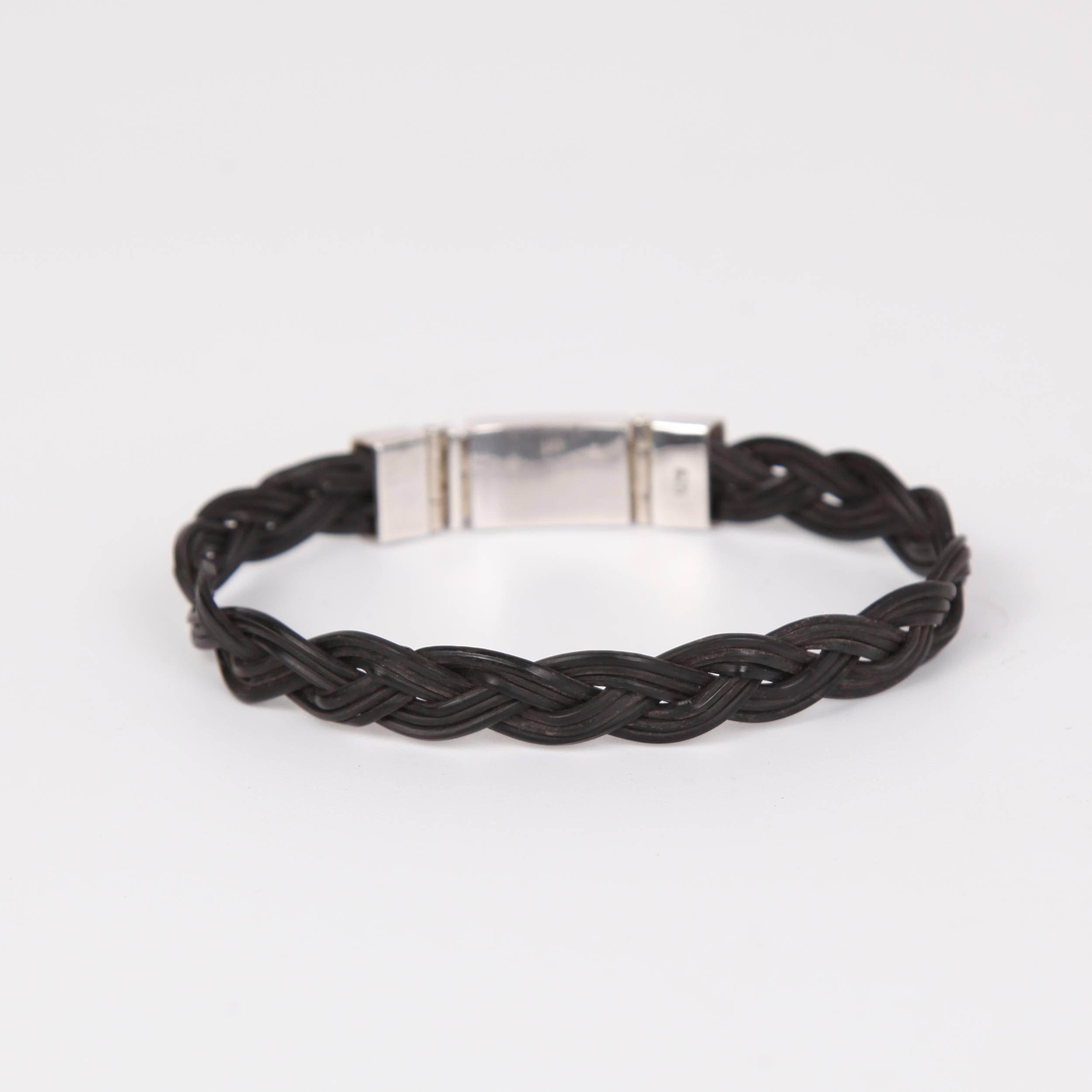 Elephant Hair Bracelet with Sterling Silver Thin Braid