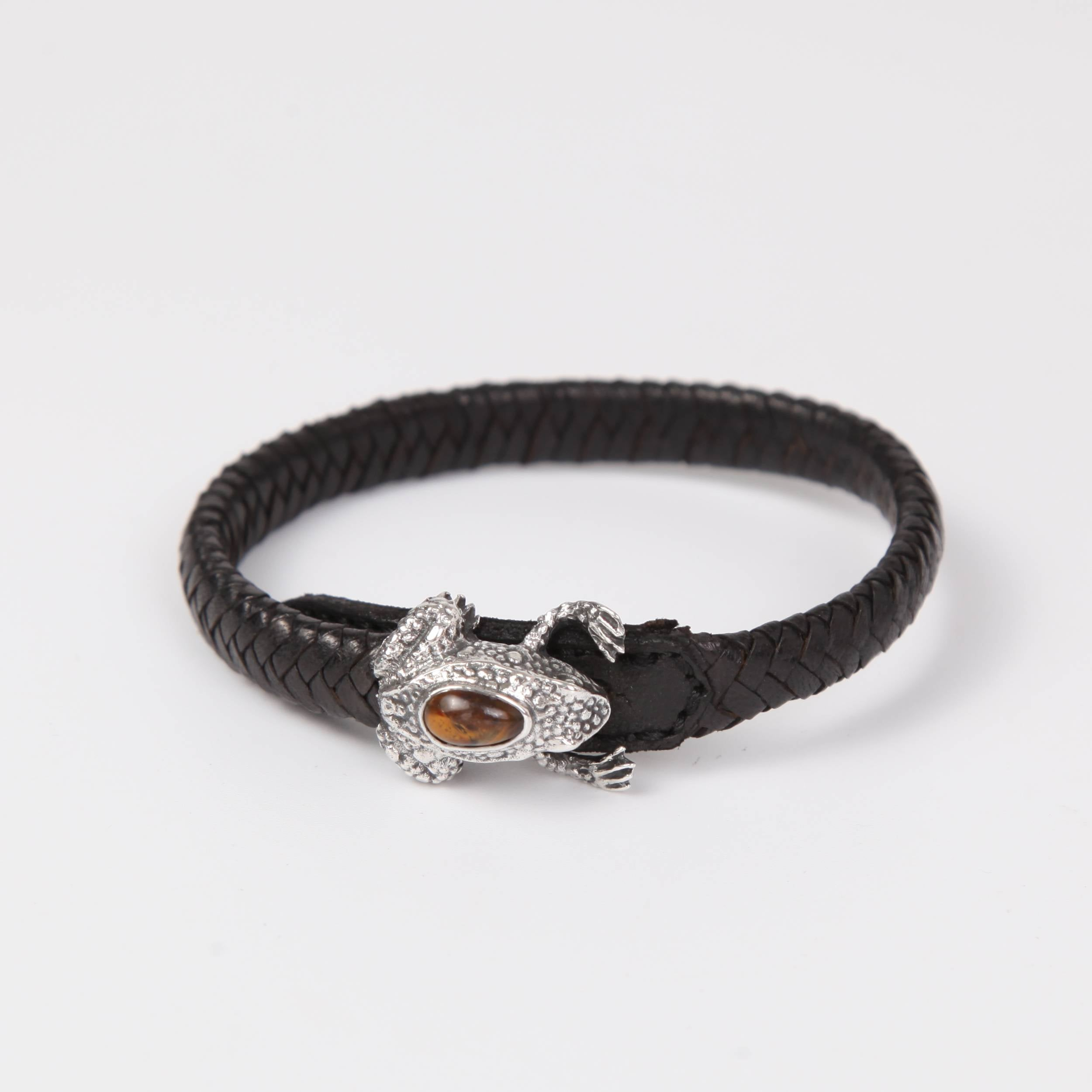 Leather (goat skin) Bracelet with Silver Frog and Pietersite