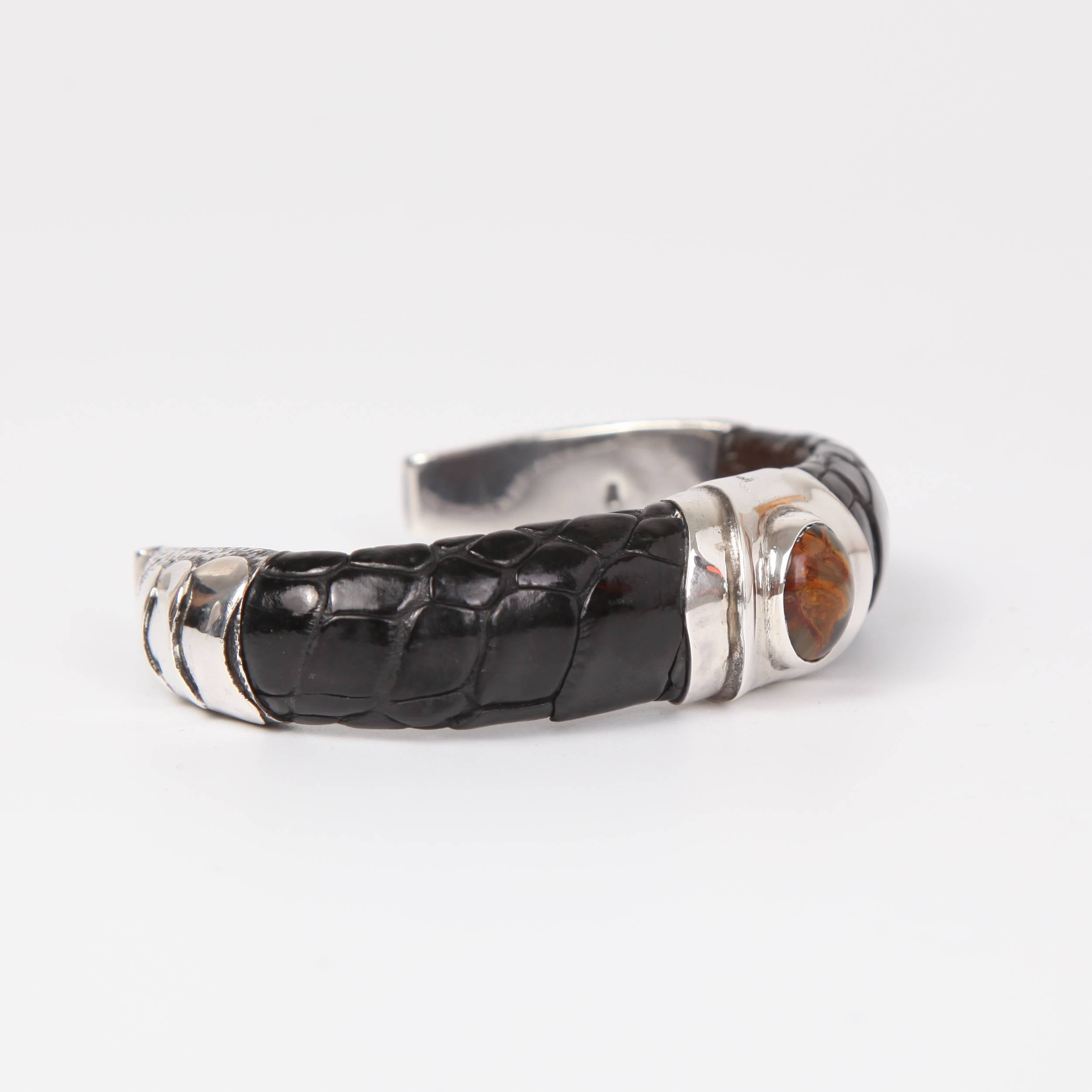 Leather (Ostrich toe skin) Bracelet with Sterling Silver and Pietersite