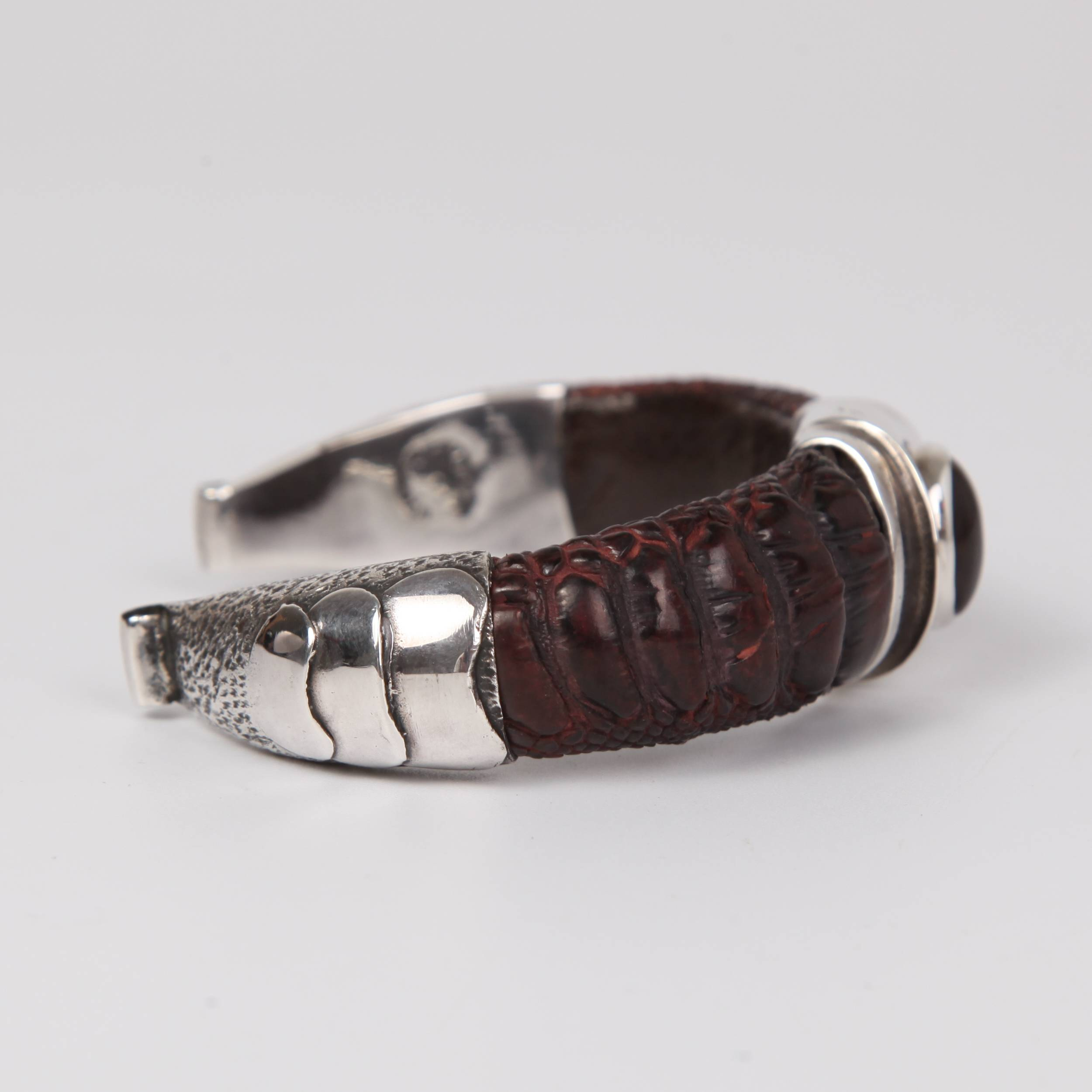 Leather (Ostrich toe skin) Bracelet with Sterling Silver and Fire Agate