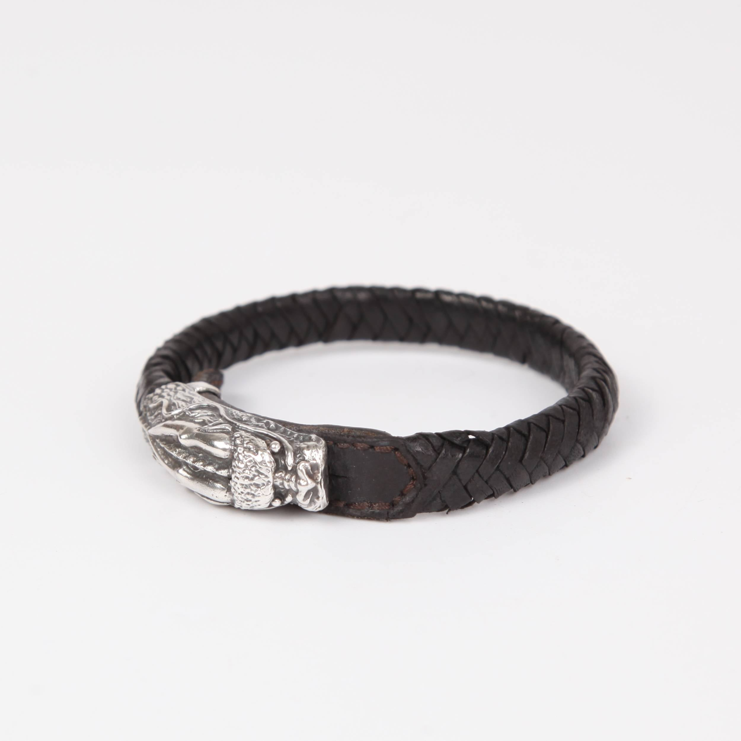 Leather (Goat skin) Bracelet with Sterling Silver Dragon Head