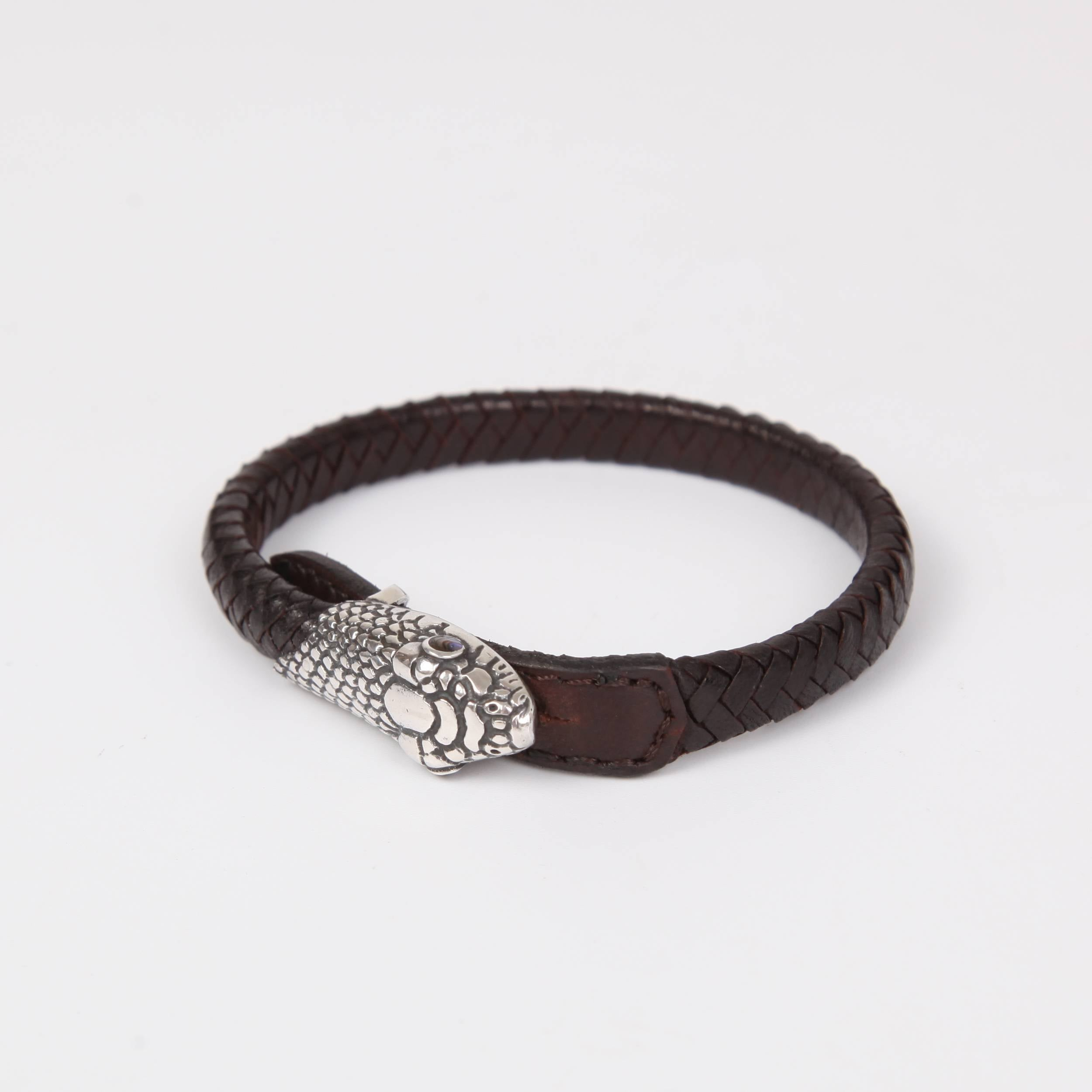 Leather (Goat skin) Bracelet with Sterling Silver Snake Head