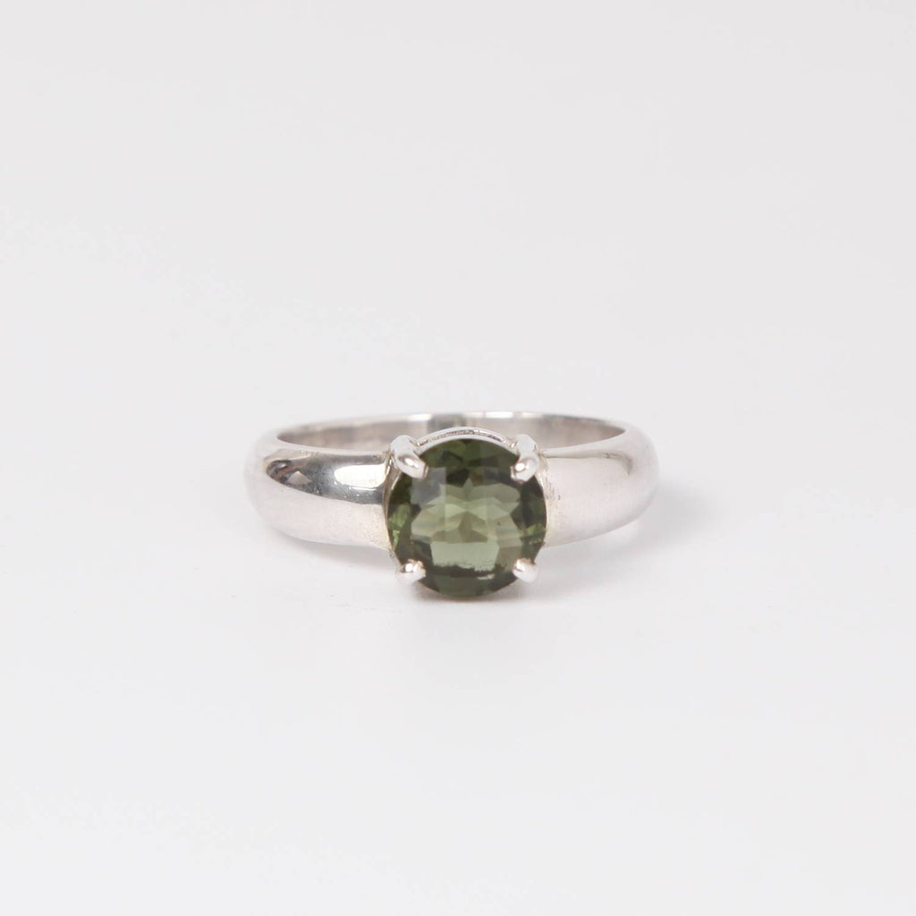 Sterling Silver Ring with Moldavite (meteorite) Circle