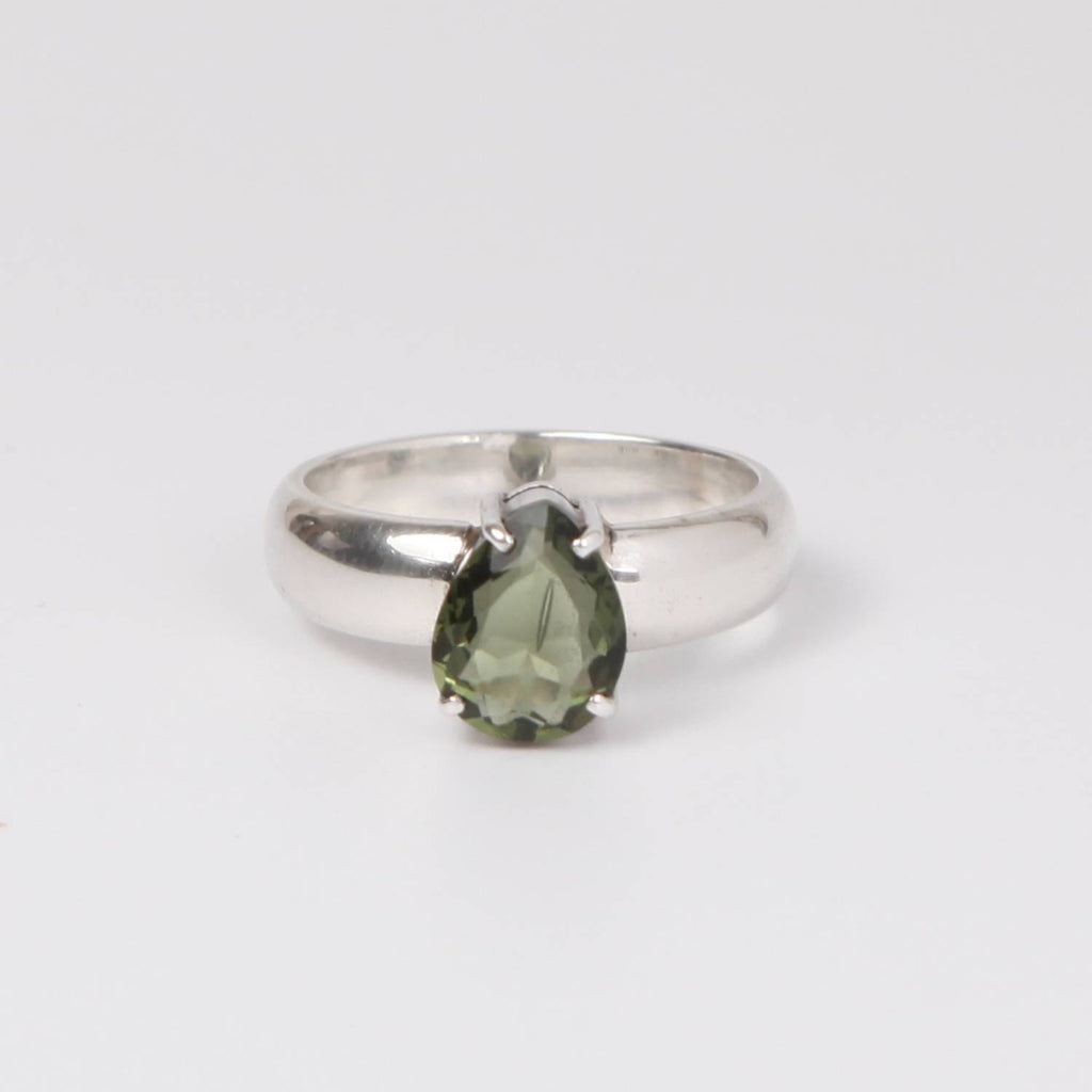 Sterling Silver Ring with Moldavite (meteorite) Triangle