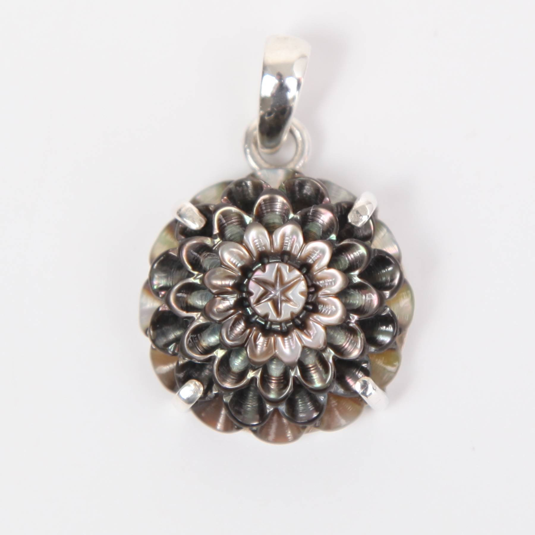 Mother of Pearl Flower Curved Pendant with Sterling Silver