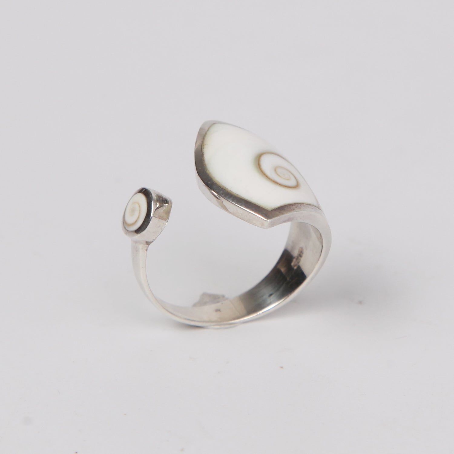Open Sterling Silver ring with Shiva Eye Shell