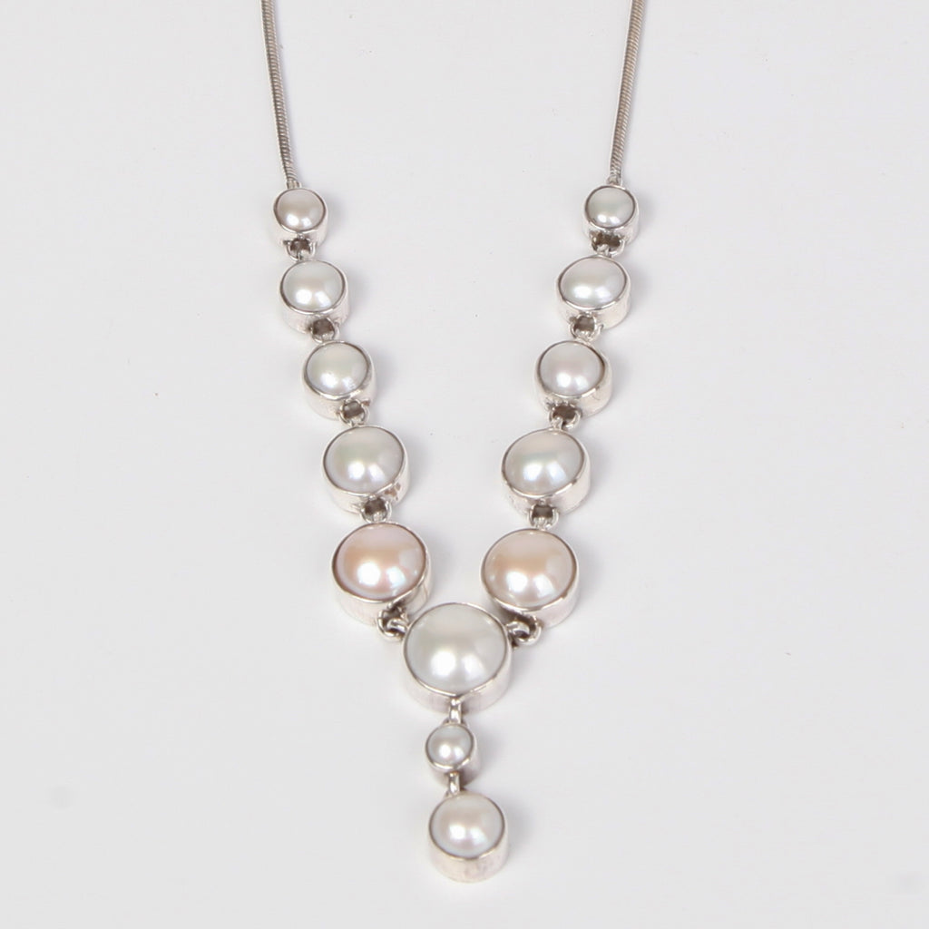 Light Drop Down Sterling silver Necklace with Fresh Water Pearls