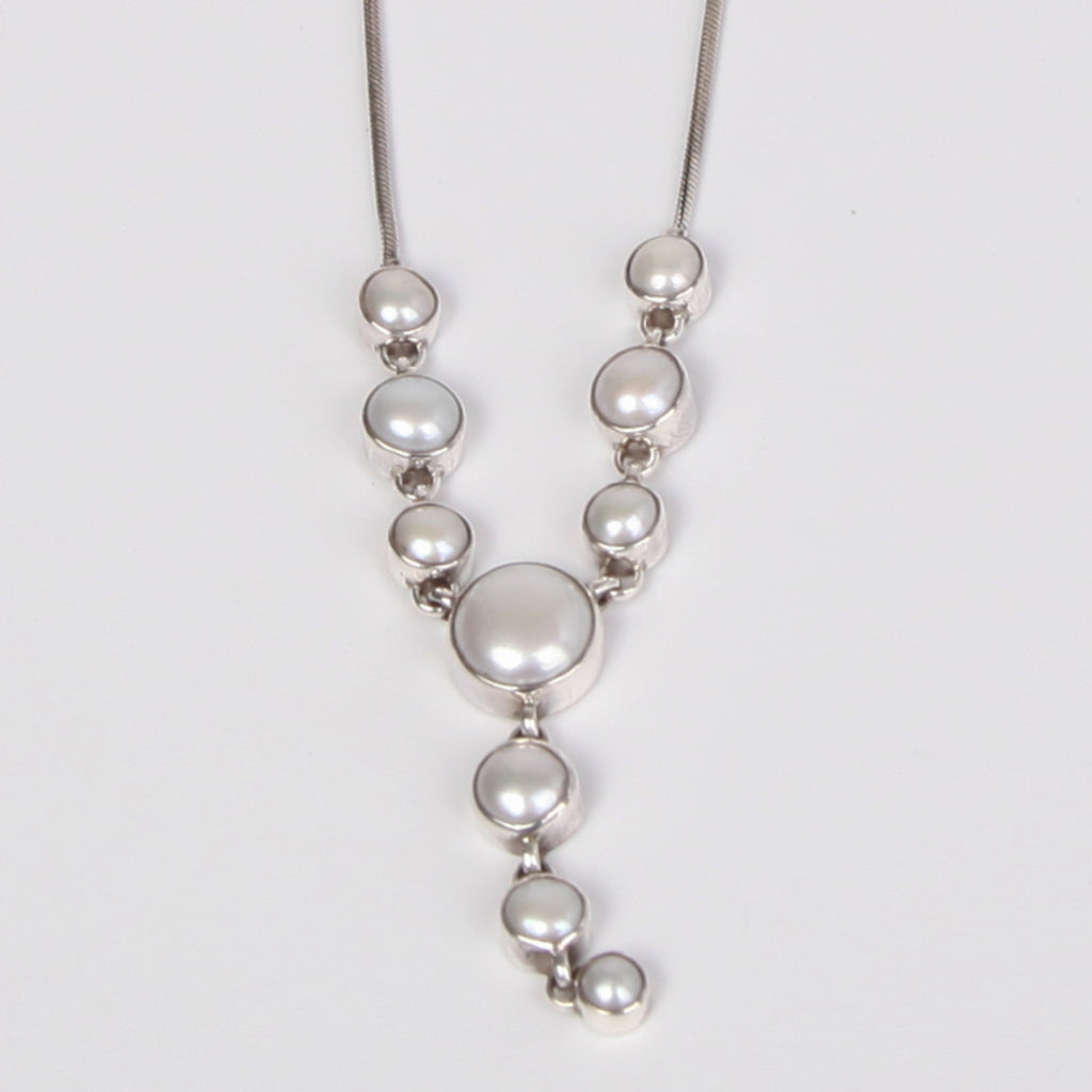 Long Drop Down Sterling silver Necklace with Fresh Water Pearls