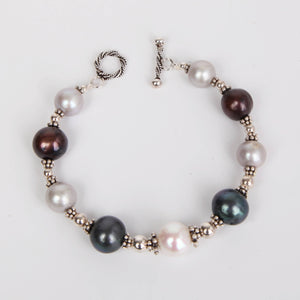Tri-Toned Fresh Water Pearls Bracelet with Sterling Silver