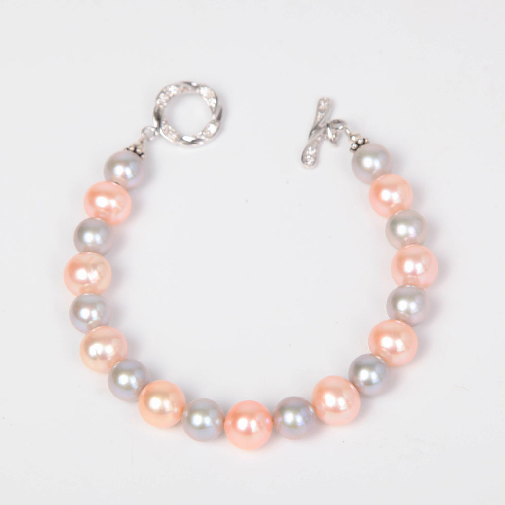 Pink Fresh Water Pearls Bracelet with Sterling Silver