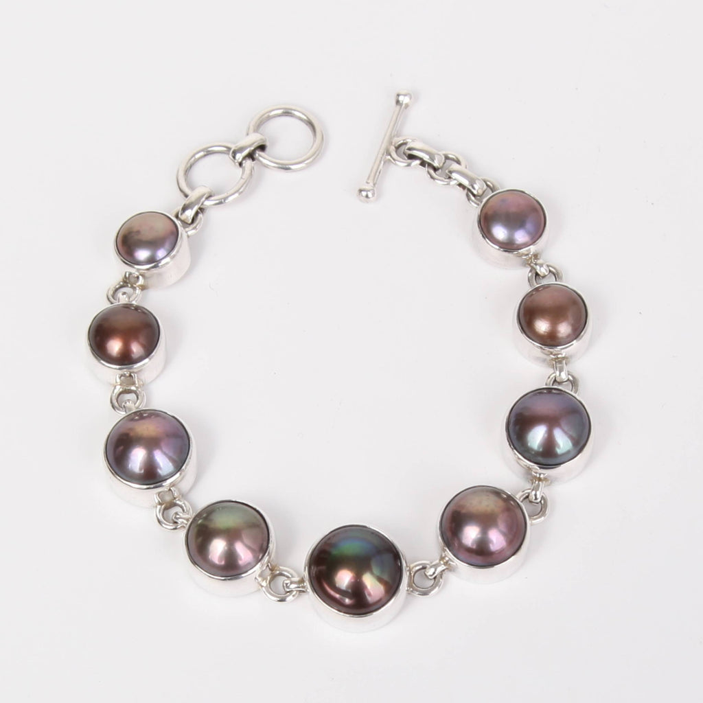 Dark Sterling Silver Bracelet with Fresh Water Pearls