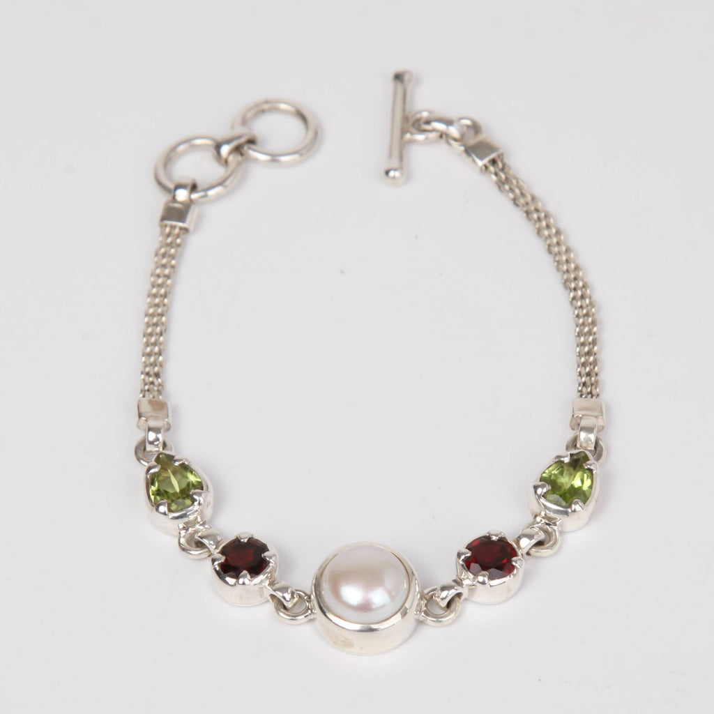 Sterling Silver Bracelet with Fresh Water Pearl, Garnet and Peridot