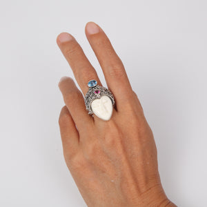 Buffalo Bone( Moon face) Sterling Silver Ring with Blue Topaz and Garnet