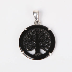 Sterling Silver Pendant with Black Agate (Tree of Life)