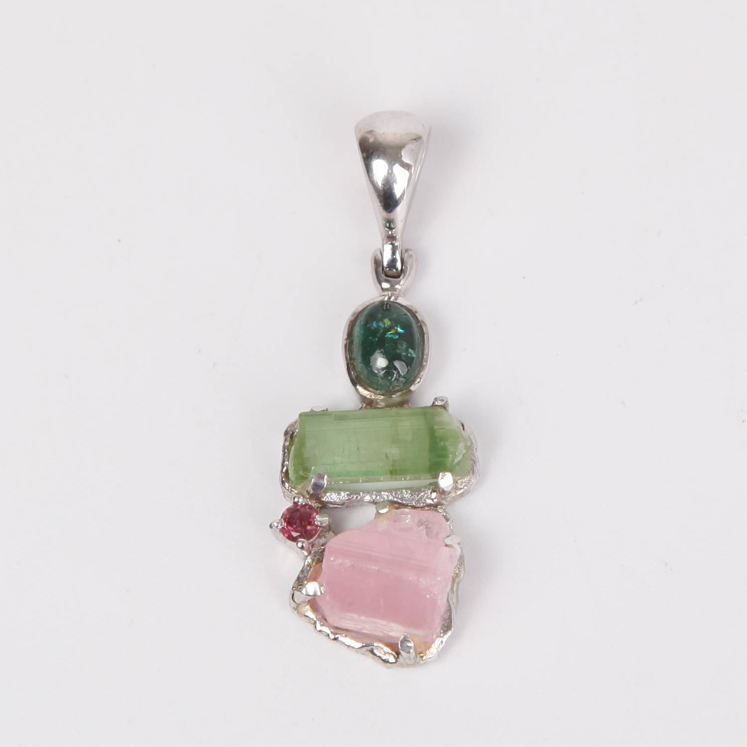 Sterling Silver Pendant with Rough Tourmaline (Pink, Green), Blue Tourmaline Cabochon and Pink Tourmaline (faceted)