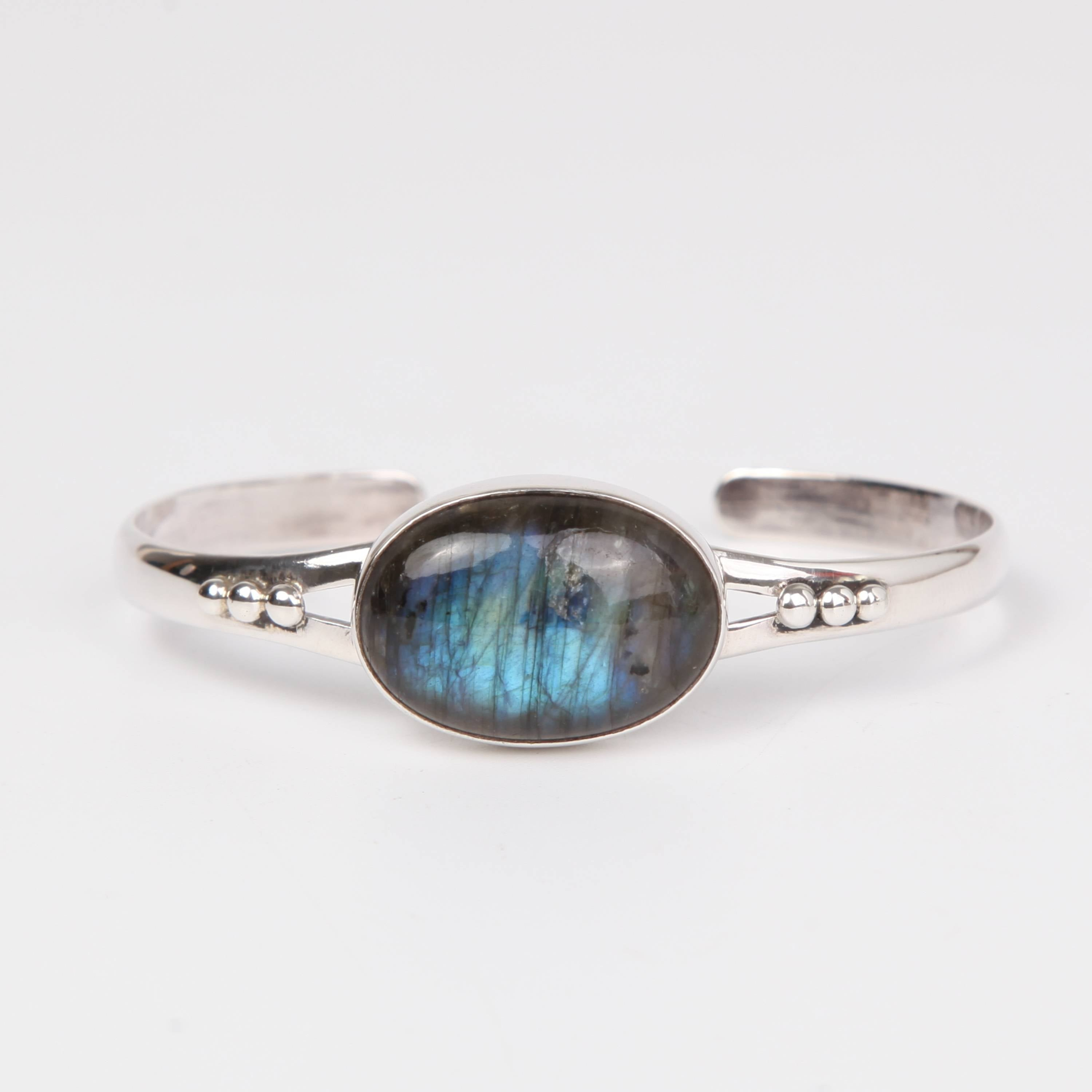 Sterling Silver Bangle with Labradorite