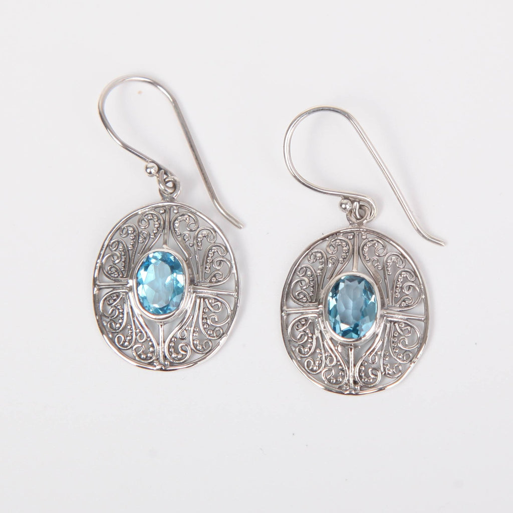 Sterling Silver Earrings with Blue Topaz Circle