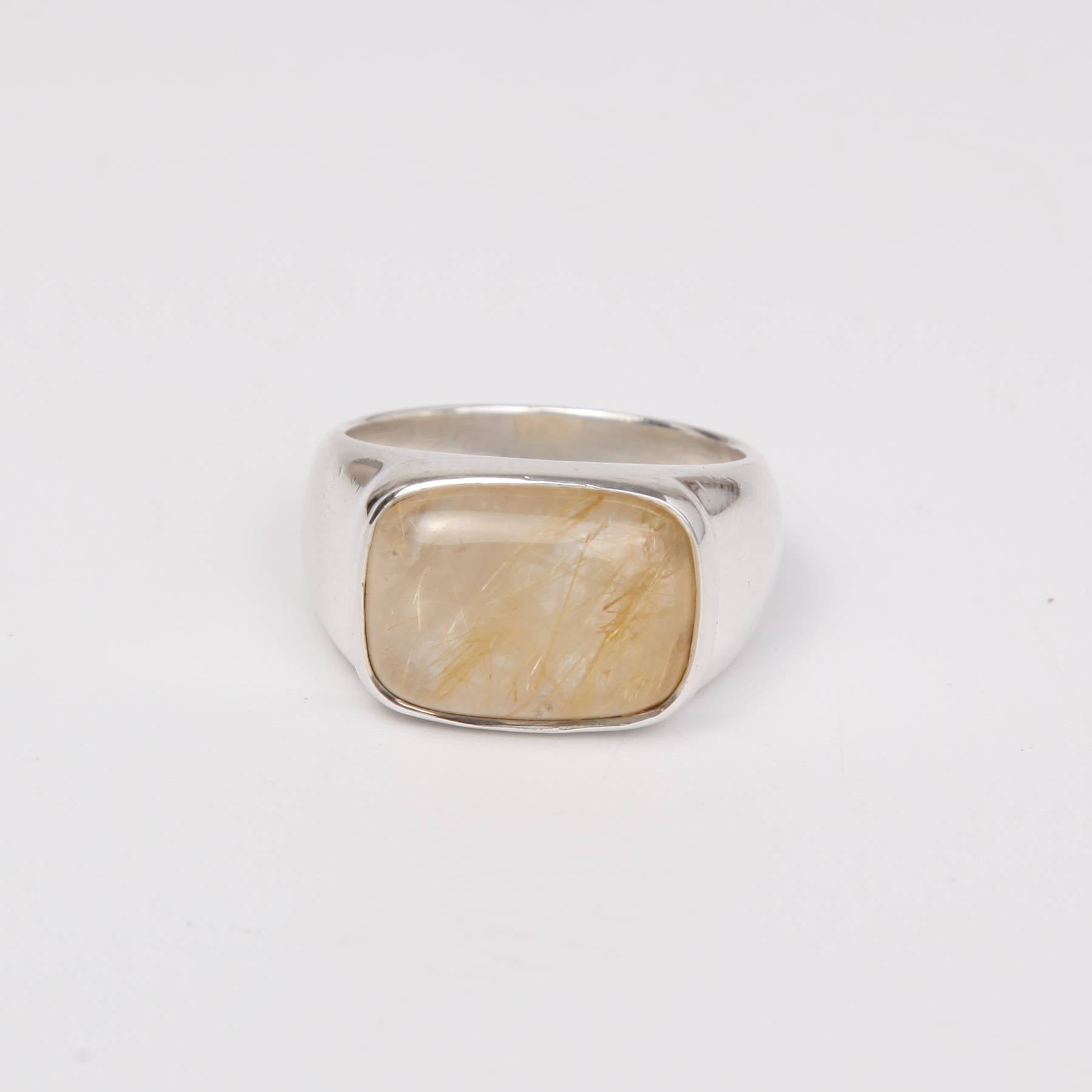 Sterling Silver Ring with Rutilated Quartz