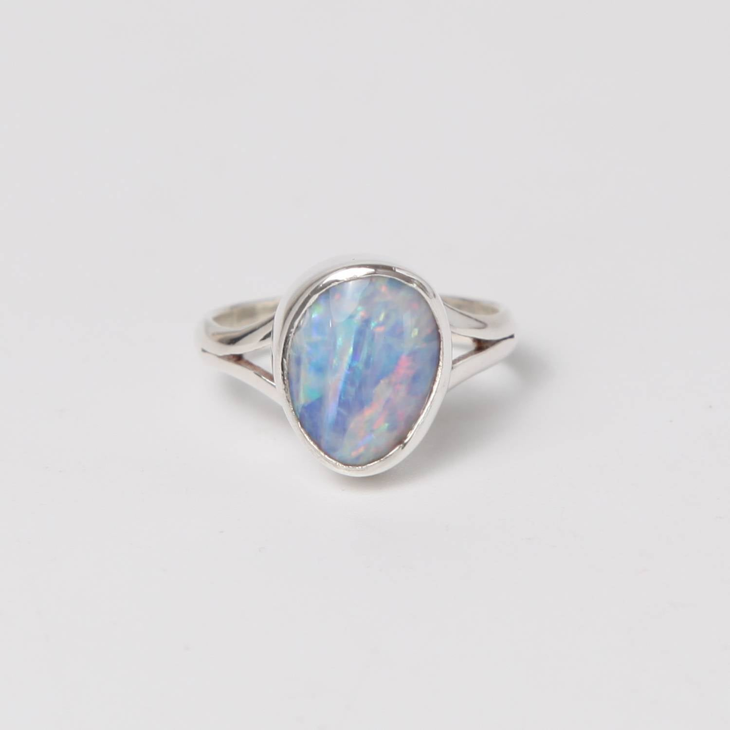 Sterling Silver Ring with Australian Opal