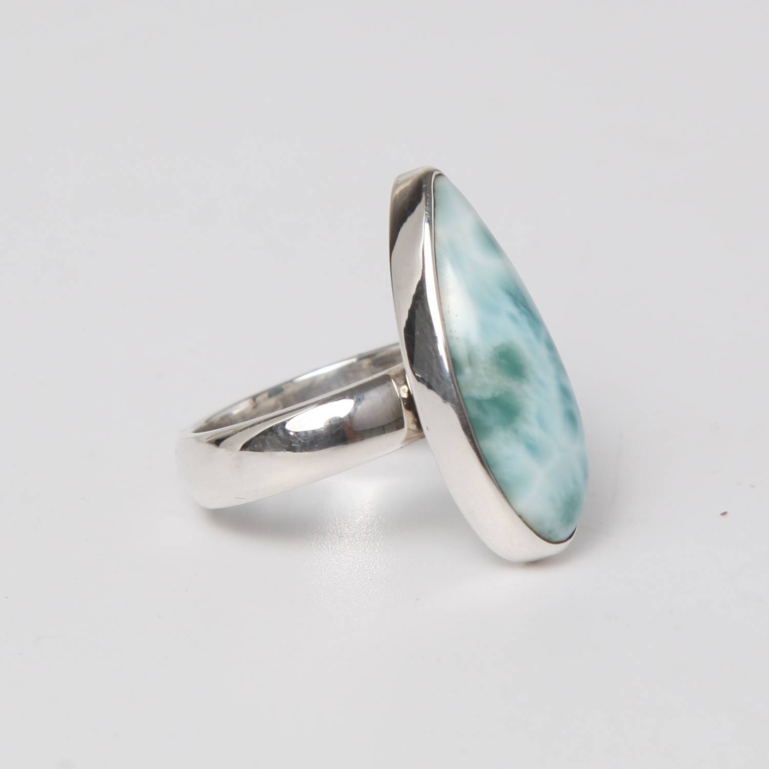 Sterling Silver Ring with Larimar Stone