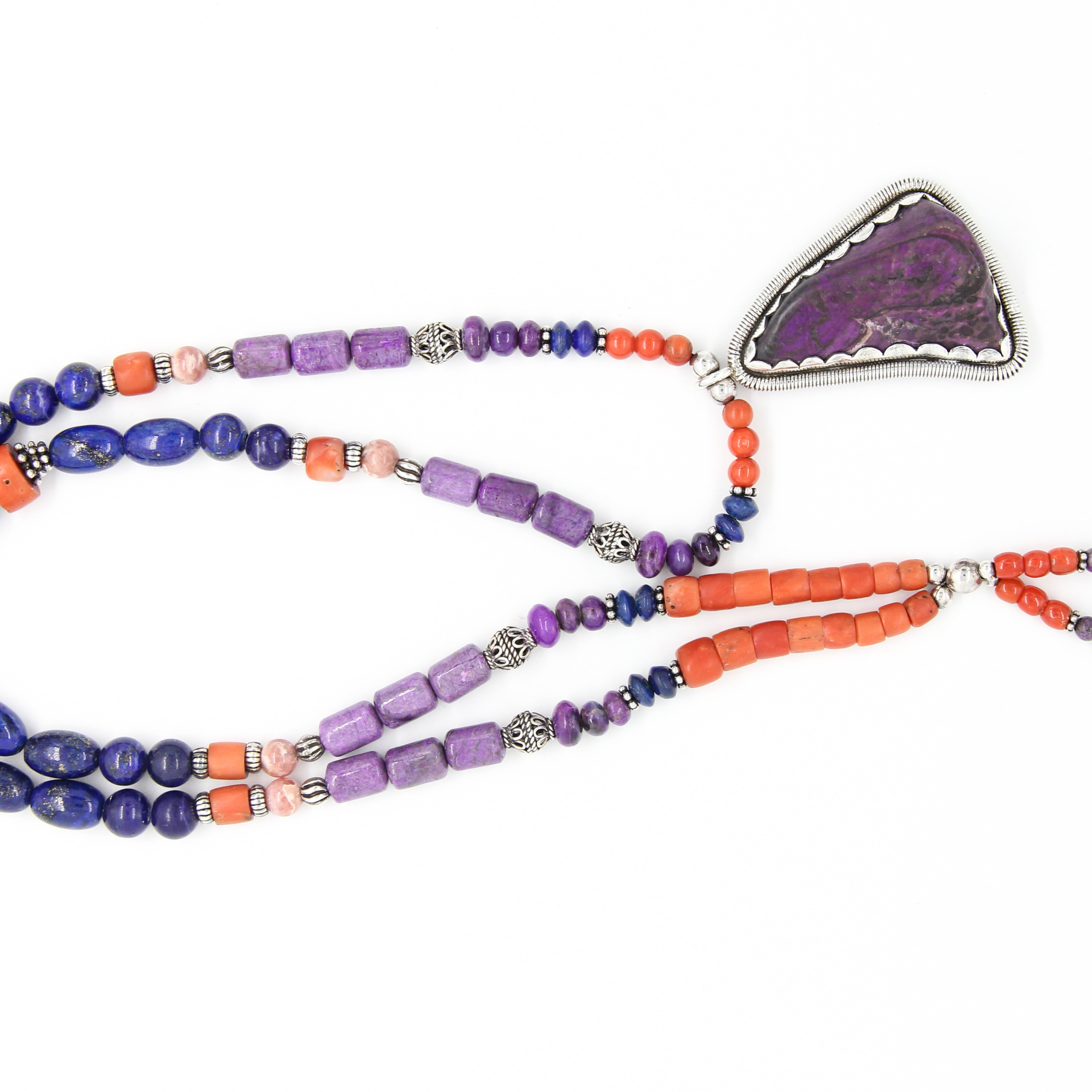 Sugilite Necklace with Red Coral, Lapis Lazuli, Rhodochrosite, Kyanite and Silver Beads