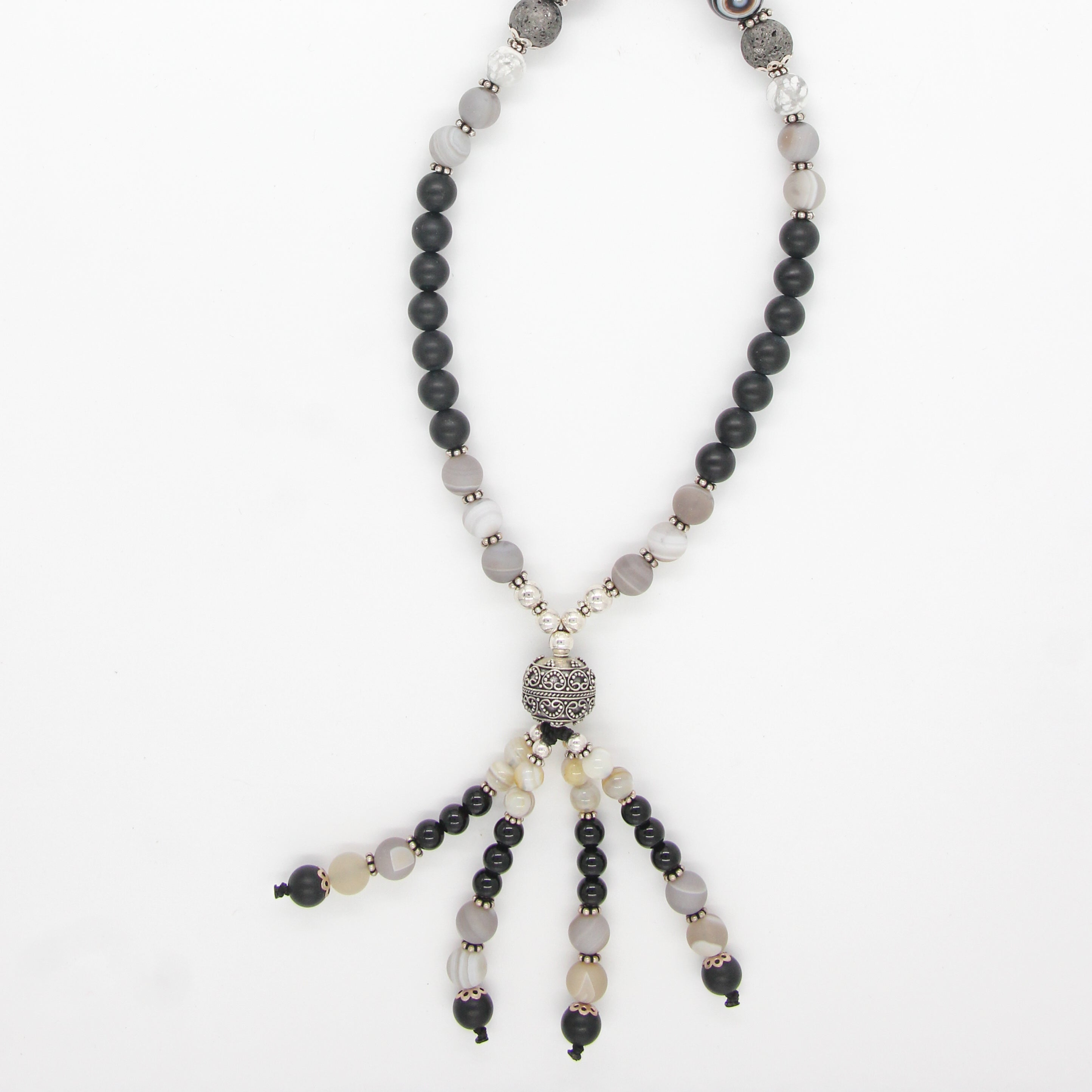 .Black Onyx Beads Necklace with Agate, Lava, Howlite and Silver Beads