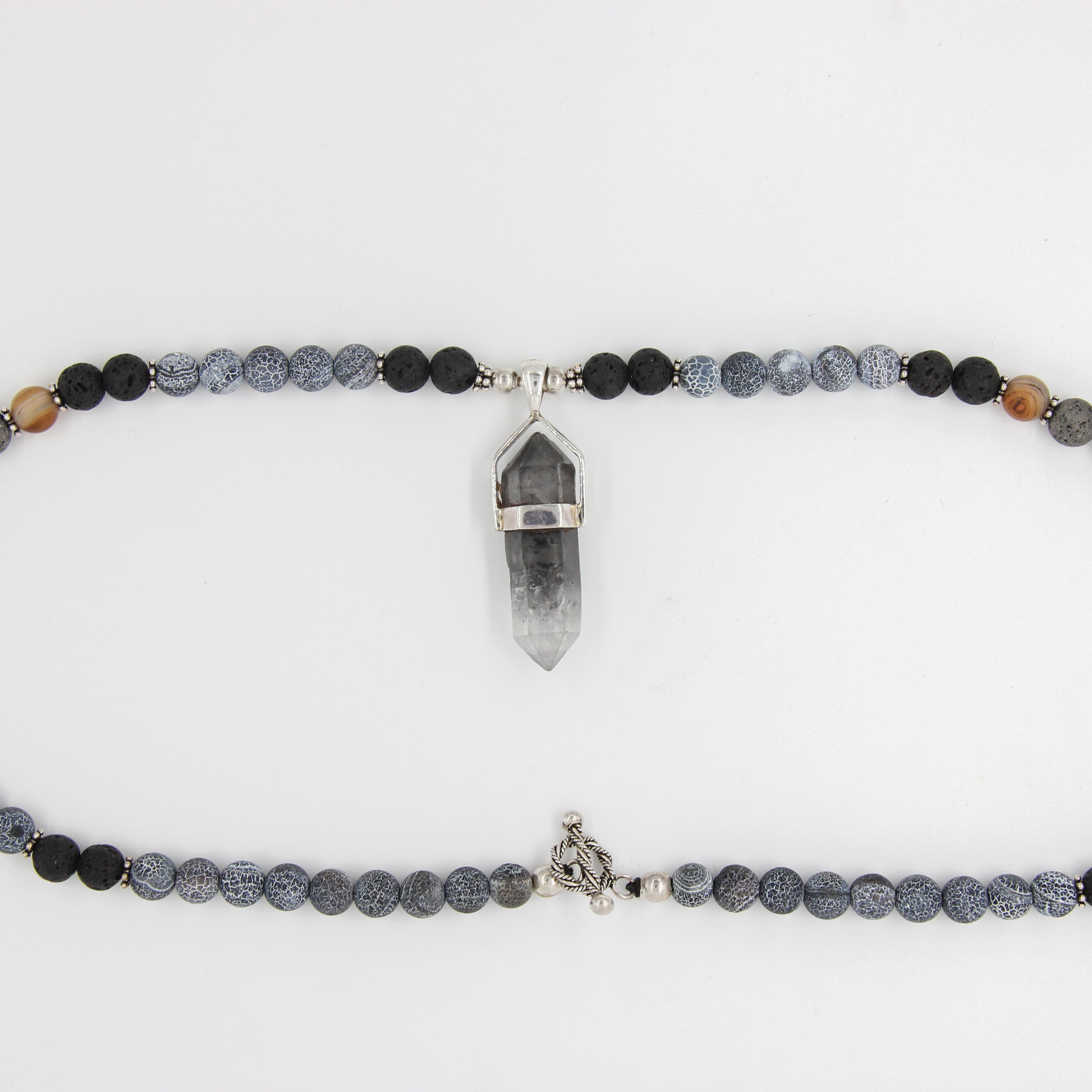 Agate Beads Necklace with Herkimar Crystal, Lava and Silver Beads