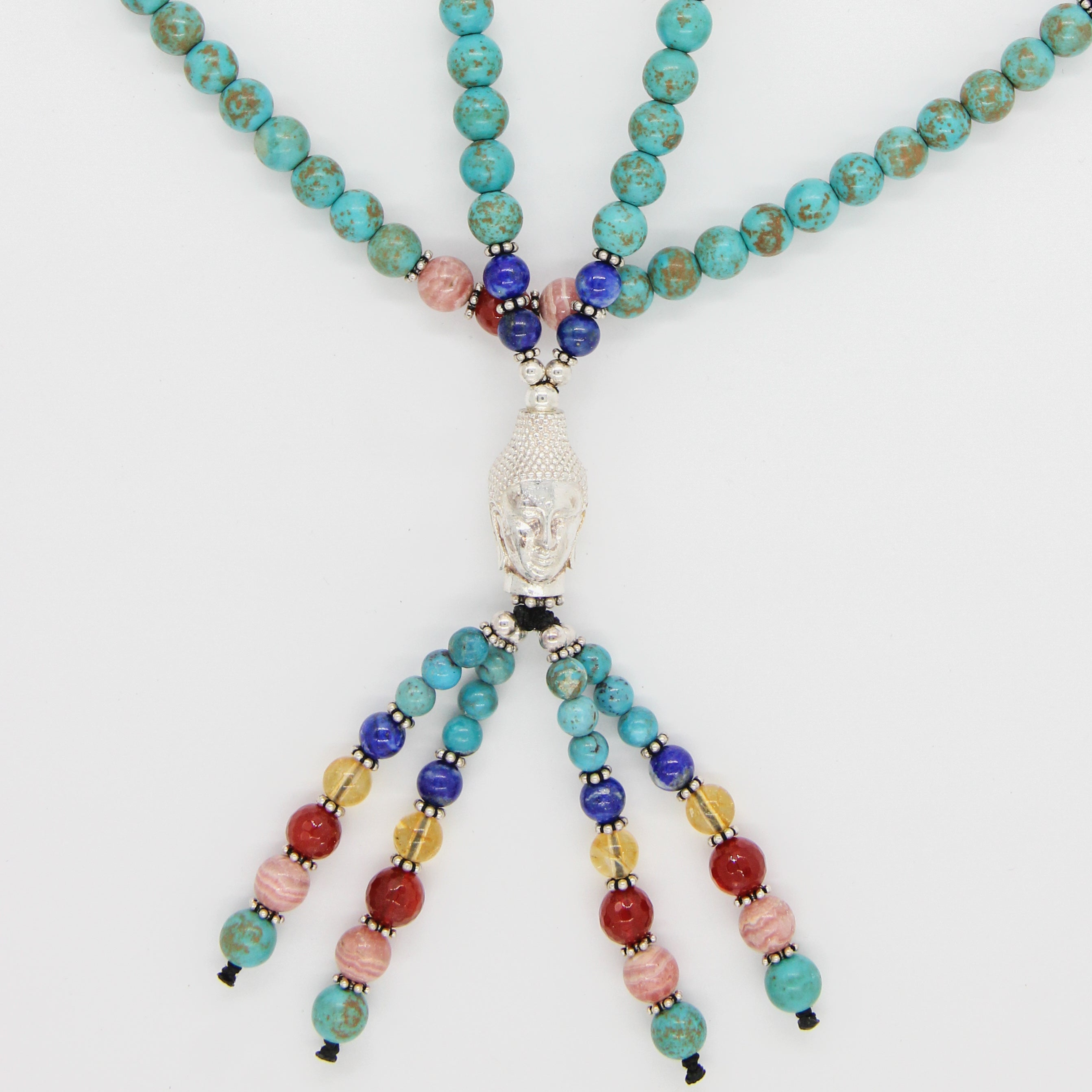 Turquoise Bead Necklace with Silver Buddha Head, Rhodochrosite, Carnelian, Citrine, Kyanite, Lapis Lazuli and Silver Beads
