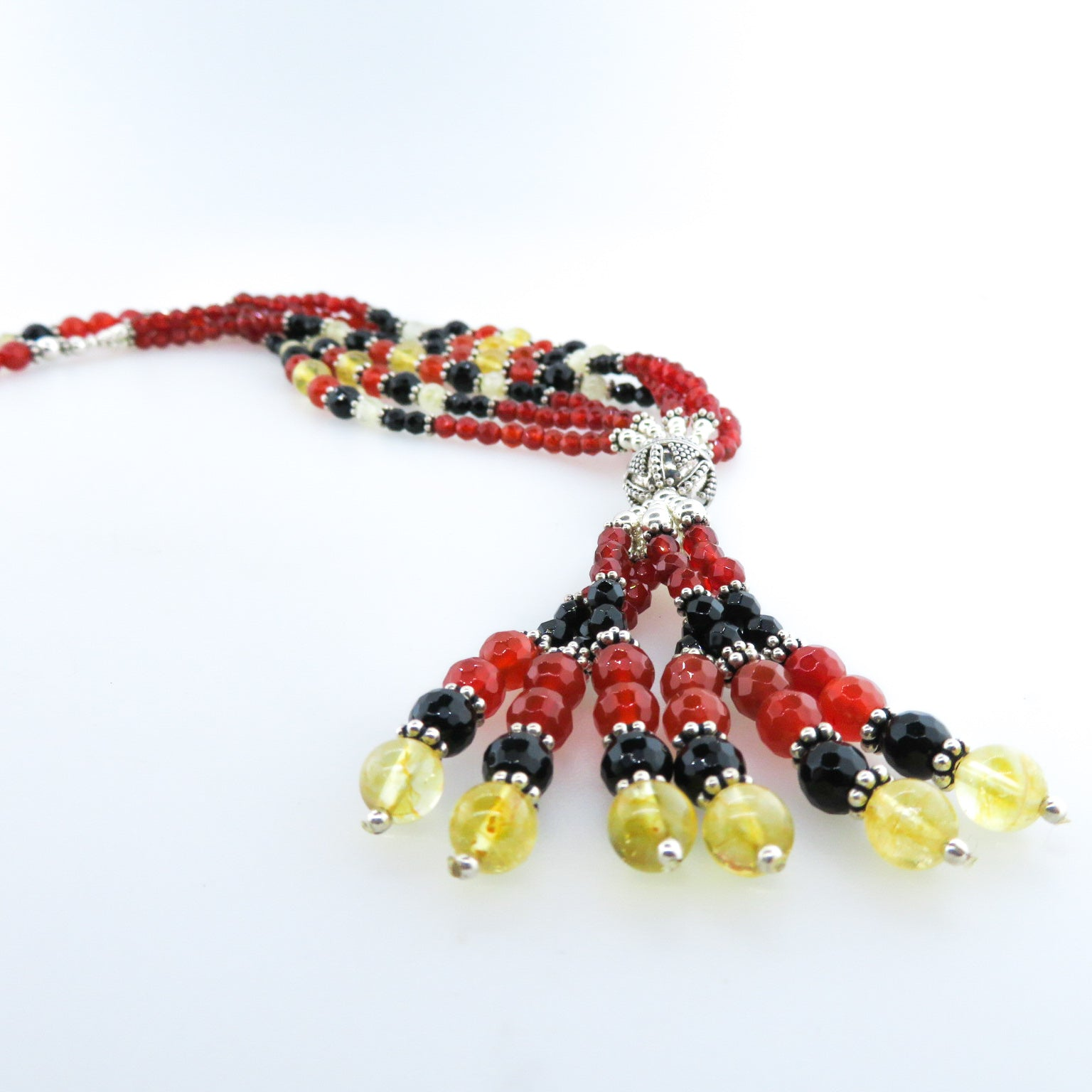 Carnelian Necklace with Citrine, Black Onyx and Silver Beads