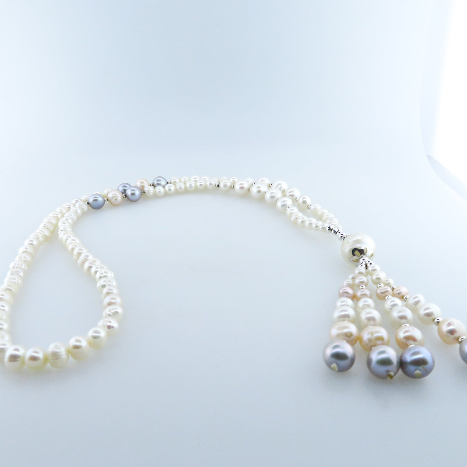Fresh Water Pearl (Multi Colour) Necklace with Silver Beads
