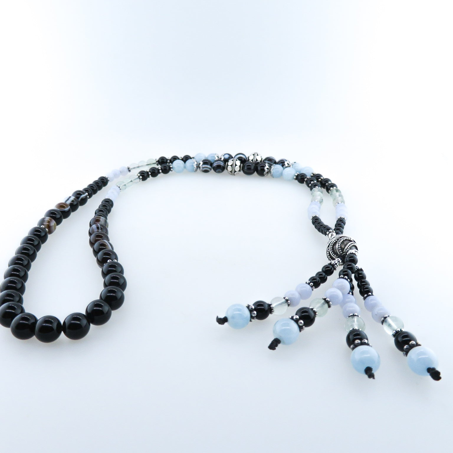 Black Onyx Necklace with Aquamarine, Fluorite, Agate, Chalcedony and Silver Beads