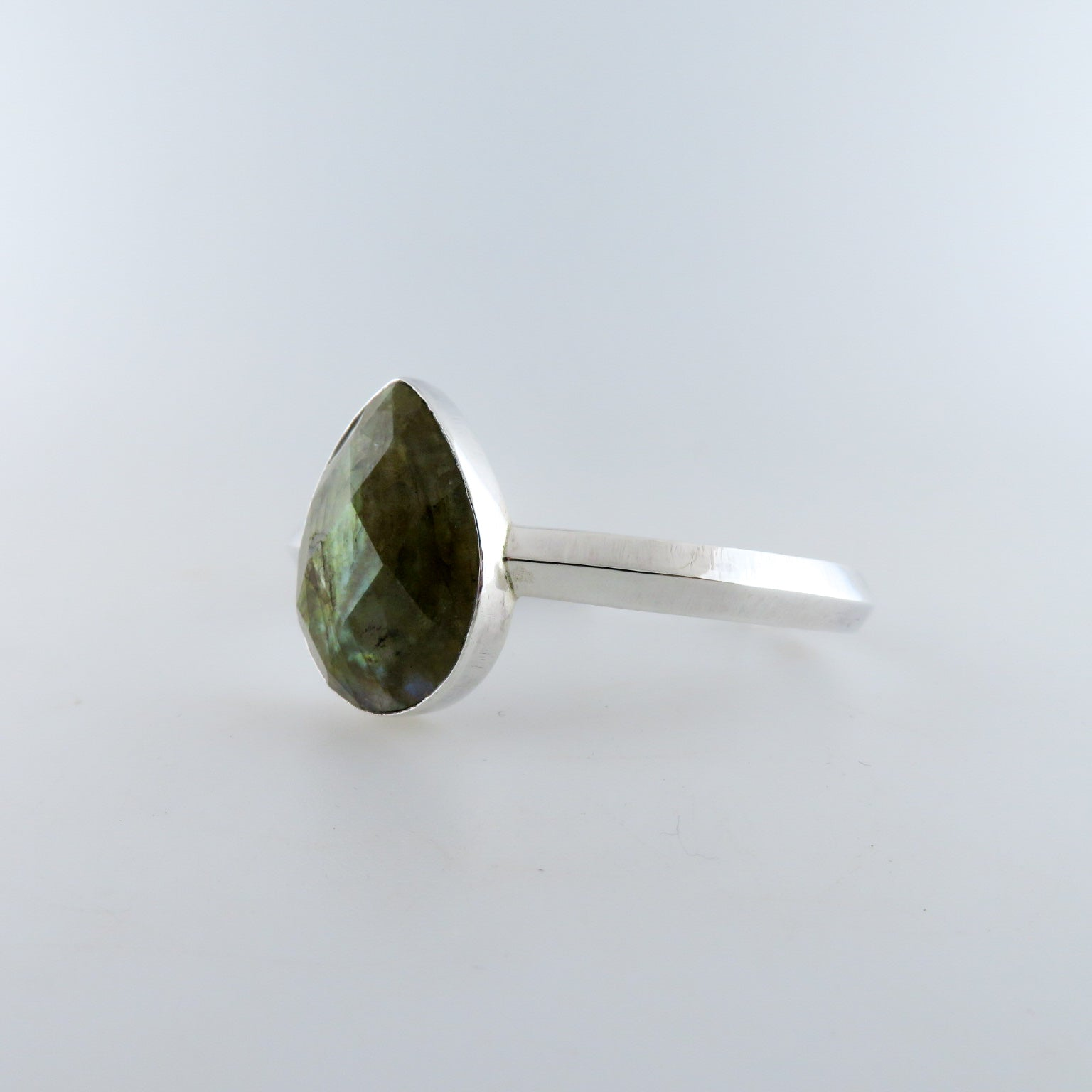 Labradorite Bangle with Sterling Silver